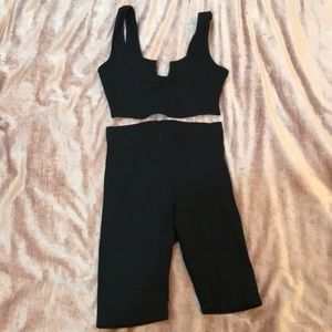 Two piece ribbed biker short set